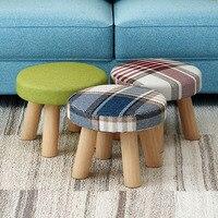 Low Stool Cloth Stool Sofa Stool Round Stool Change Shoe Stool Cartoon Solid Wood Detachable Cloth