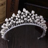 MANWIIKorean large imitation pearl crown high-end luxury bride headdress wedding dress with jewelry jewelry crownHL1613