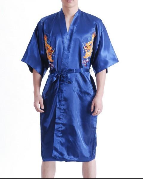 Azul marino chinos hombres de satén de seda Robe bordado del Kimono de baño vestido ropa de dormir de verano del dragón sml XL XXL XXXL MR070