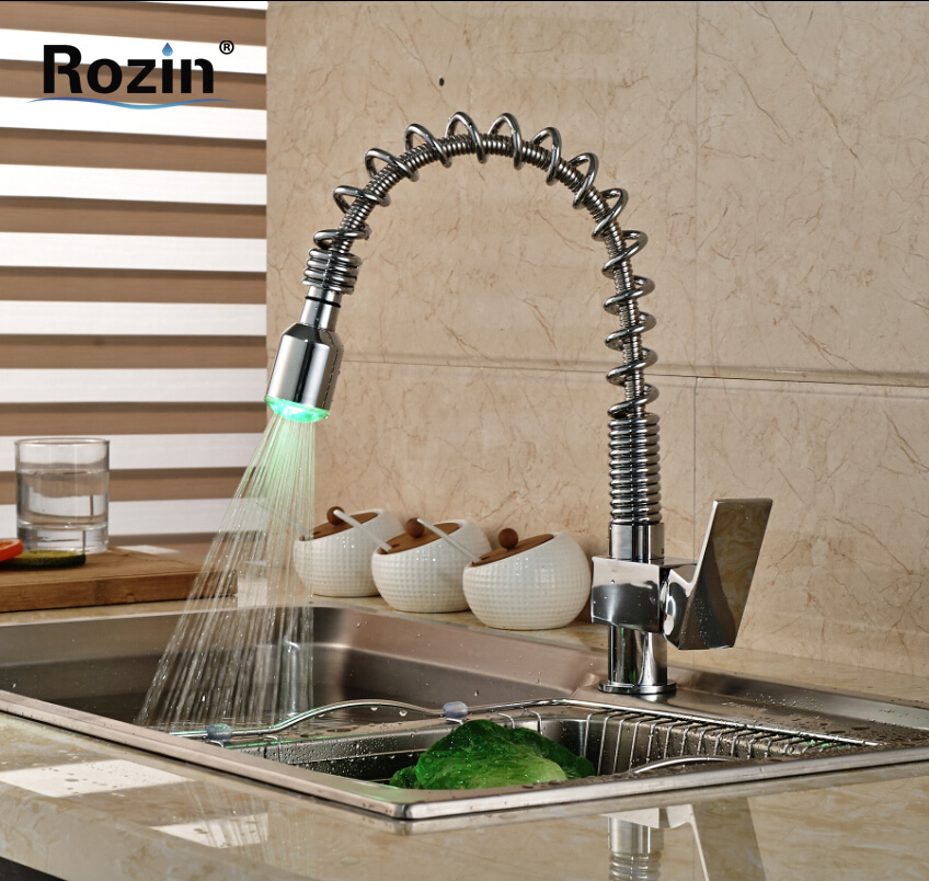 Polished Chrome LED Light Pull Down/out Kitchen Sink Faucet Single Lever Spring Kitchen Hot Cold Water Mixer Tap new arrival tall bathroom sink faucet mixer cold and hot kitchen tap single hole water tap kitchen faucet torneira cozinha