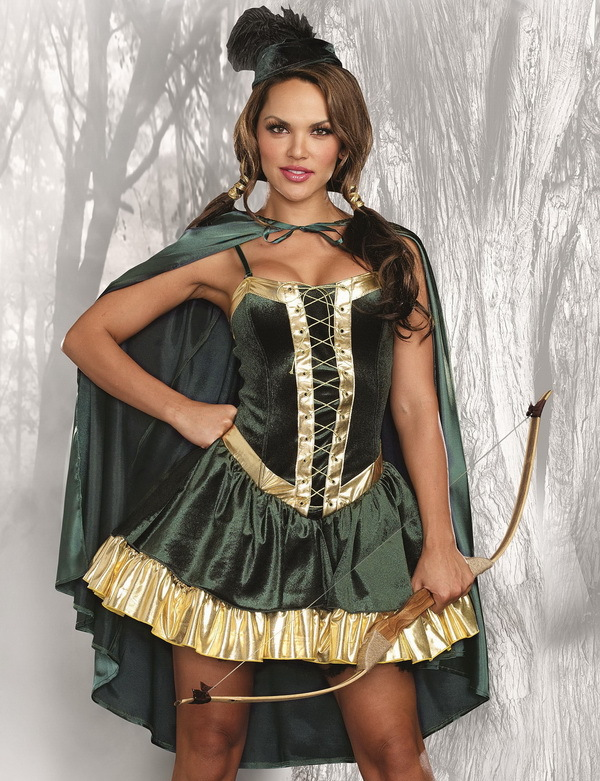 Medieval Ladies Robin Hood Costume Book Day Maid Marion Outfit Halloween Fancy Dress