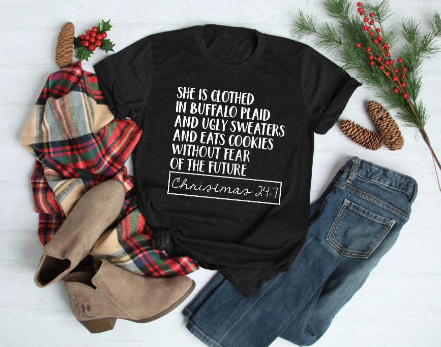 d36c9f1195 ... She is clothed in Buffalo Plaid t-shirt Cute Christmas Shirts for Women  slogan casual