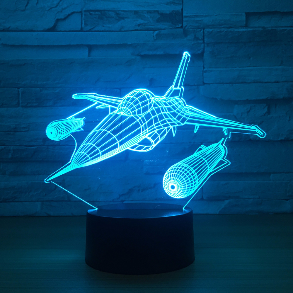 New Warplane Aircraft 3D Night Light Table lamp Multi Colors Jet plane with USB Power Decor Birthday Holiday New Year Decor Gift