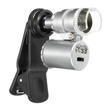 Universal 60X Phone Microscope Macro Lens Optical Zoom Magnifier Micro Camera Clip LED Lenses For iPhone Camera Module