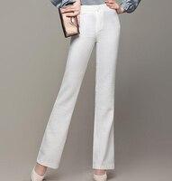 High Waist Linen Pants For Women OL New Fashion Flare Pants Casual Gray Beige White Full
