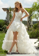 dress free shipping all white sexy lace 2013 New! Ivory Organza High-low Wedding Dresses Lace Corset Bridal Gown Dress