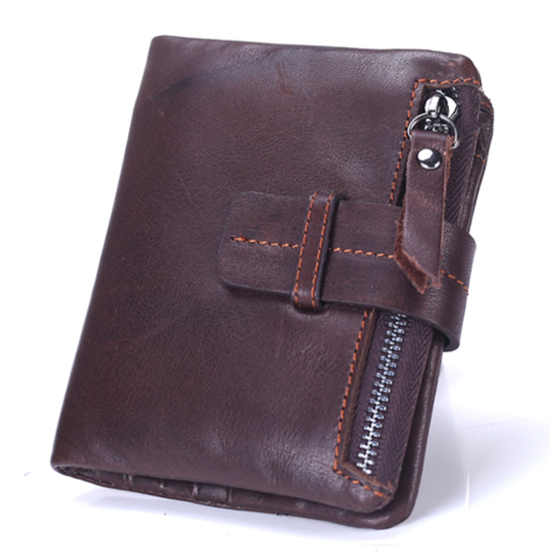 OIL WAX Cowhide Genuine Leather Men Wallets Fashion Purse With Card Holder Vintage Short Wallet Clutch Wrist Bag With Zipper bag