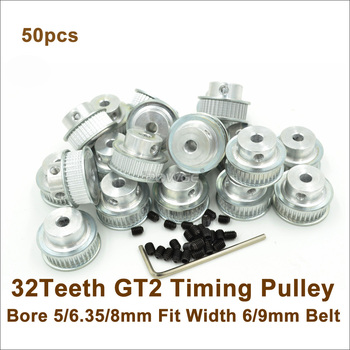 POWGE 50pcs 32 Teeth 2GT Timing Pulley Bore 5/6.35/8mm Fit W=6mm 9mm GT2 Timing Belt 3D Printer 32teeth 32T GT2 Timing Pulley