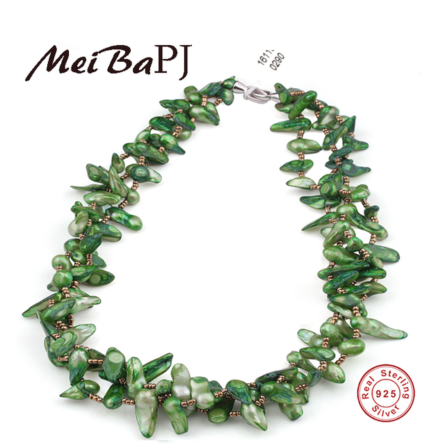 [MeiBaPJ] Baroque color pearl necklace green/red/brown 3 colors 925 sterling silver jewelry good for party gift box