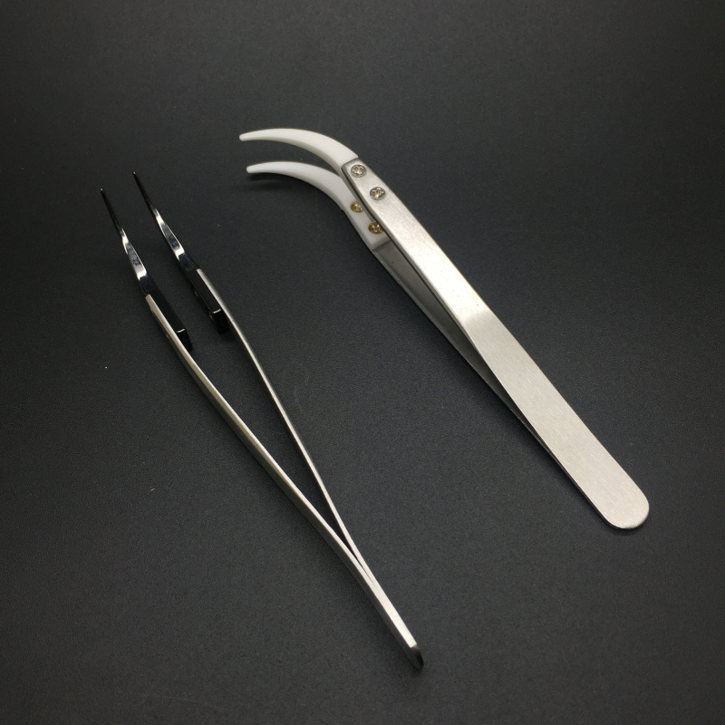 Straight Curved Ceramic Tweezer Nail Tools Heat Resistant Non Conductive Stainless Steel DIY Heating Wire Rebuilding Coil RDA