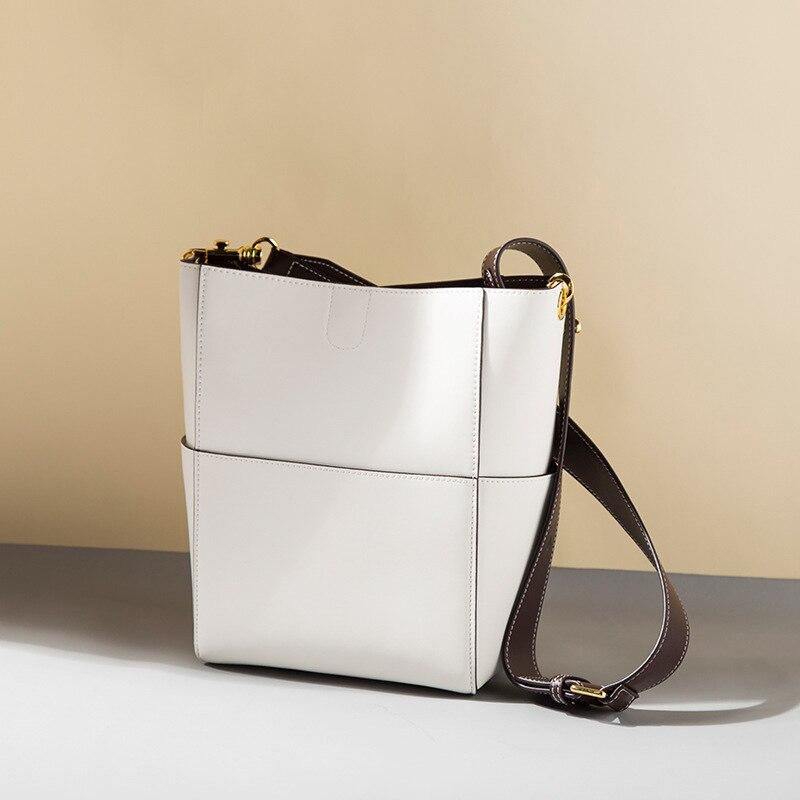 Nieuwe Vrouwen emmer tas Echt Leer Koeienhuid Draad designer Composite messenger Bag Crossbody Winkelen handtas met 2 bandjes - 3