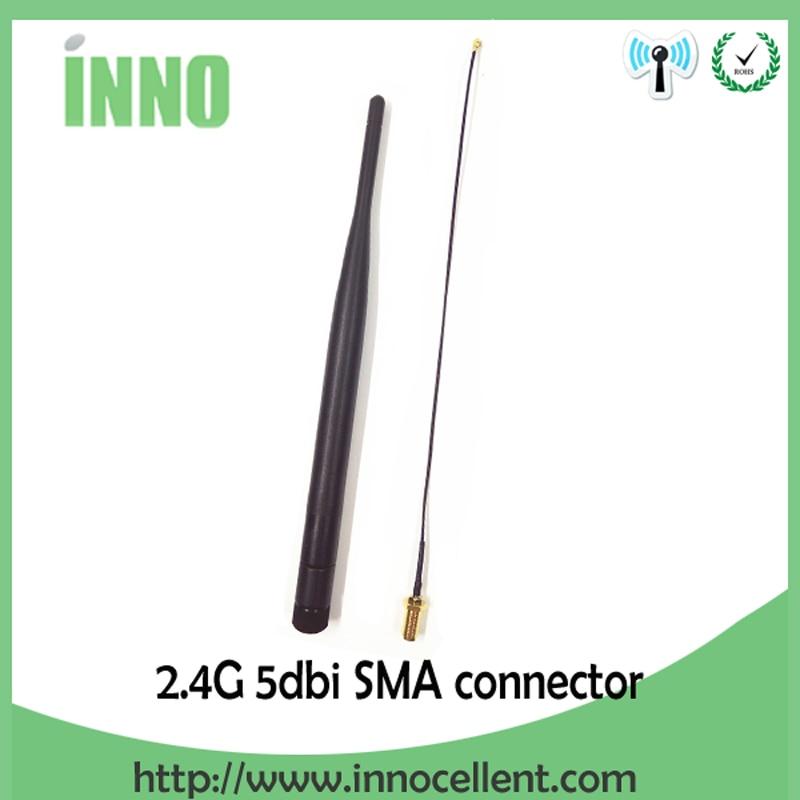 2.4 ghz Antenne wifi 5dBi SMA Mâle Connecteur 2.4 ghz antena pour Routeur Wi fi Booster + 21 cm RP-SMA à ufl. /IPX 1.13 Tresse Câble