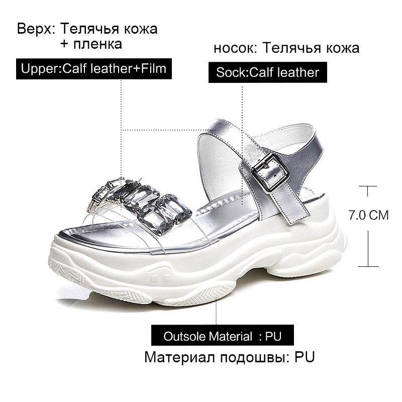 Donna in été haute plate forme sandales 2019 femmes Sport sandales en cuir véritable chaussures à bout ouvert avec strass sangle boucle - 5