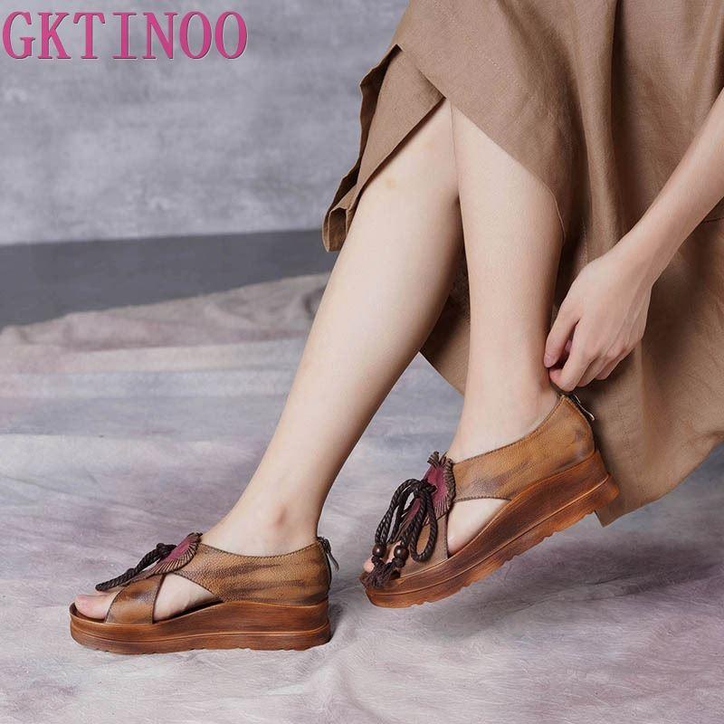 Ayakk.'ten Orta Topuklu'de GKTINOO Orijinal Yaz Yeni Moda Kama Topuklu Kalın Tek El Yapımı Ayakkabı Hakiki Deri Fermuar Retro Rahat Kadın Sandalet'da  Grup 1