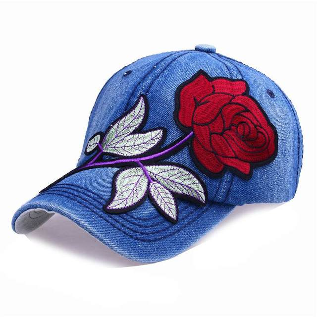 Rose Denim Baseball Cap...