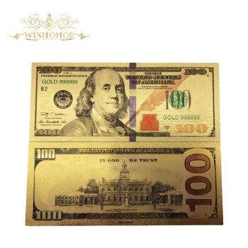 1000 шт 2018 новые продукты цветная американская банкнота долларовая Золотая банкнота в 24k позолоченные бумажные деньги для сбора и подарка