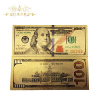 1000pcs 2018 New Products Color America Banknote Dollar Gold Banknote in 24k Gold Plated Paper Money For Collection and Gift