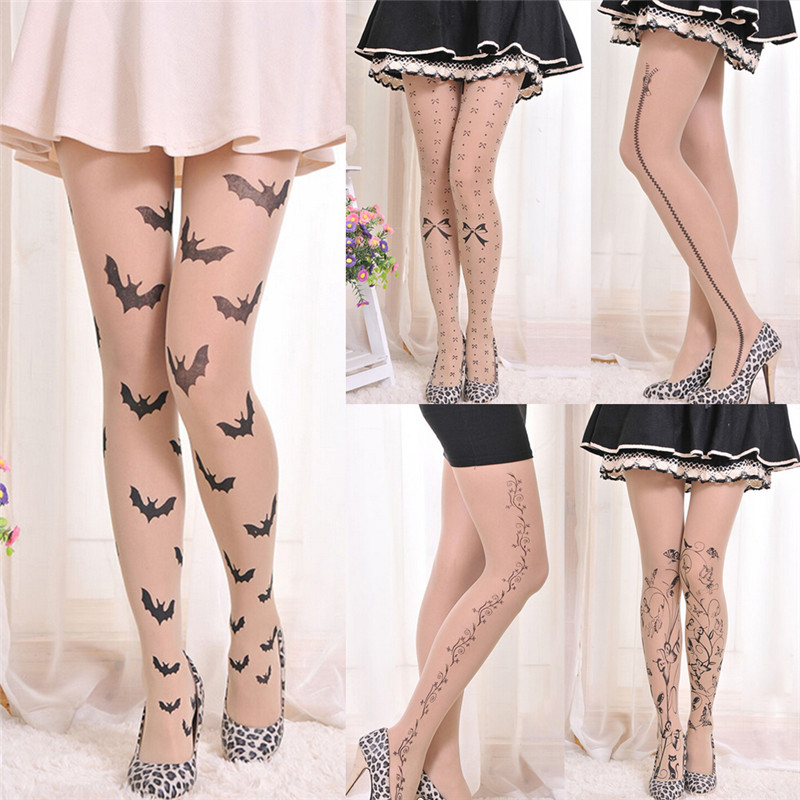 Hot Women Tattoo Tights Pantyhose 6 Styles Lolita Fancy Hosiery Cute Patterns Printed Pantyhose Ladies Gifts