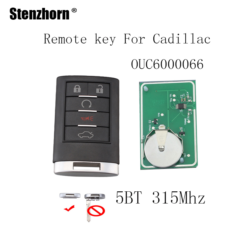 Stenzhorn 5Buttons Smart Remote Key Keyless Fob For Cadillac 2006-2011 DTS 2007-2009 SRX 2008-2010 STS original keys 315mhz 5pcs lot axon b 63 analogue bte hearing aid personal sound amplifier ear care tools for severe hearing loss