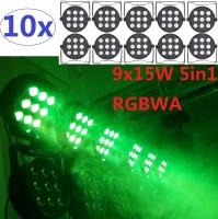 10xLot Led Par Light 9x15W 5in1 RGBWA Led Stage Light High Power LED Flat Par Can Disco Projector Lighting DMX DJ Strobe Lights