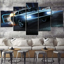 Modern Home Decor Canvas Dodge Charger Rocket League Car 5 Piece HD Print Painting Wall Art