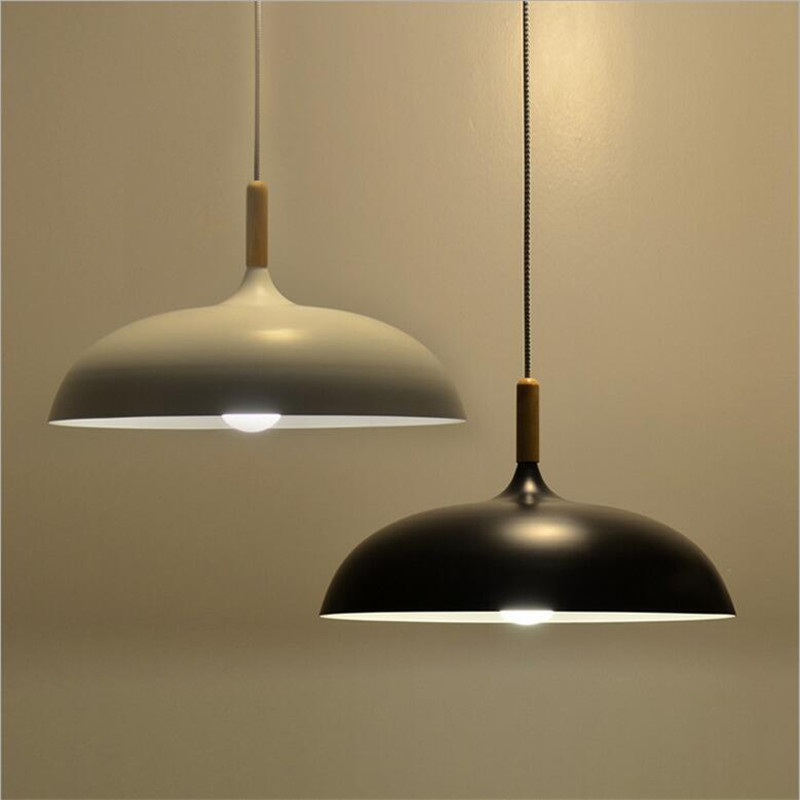 Minimalism Nordic White/Black Aluminum Wood Led E27 Pendant Light for Dining Room Restaurant bar Dia 45/60cm 1613 silver wings silver wings серьги 22ae5313wmop r 148