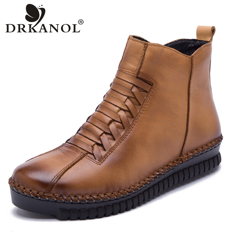 DRKANOL 2018 New Women Snow Boots Handmade Sewing Genuine Leather Ankle Boots Women Winter Warm Casual Shoes Plus Size 35-43 цены онлайн