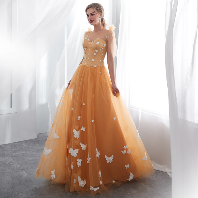 Gold Tulle  Lace-Up Prom Gowns Special Occasion Dress