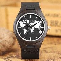 Novo Mapa Do Mundo Mostrador do Relógio de Madeira de Quartzo Homens Casual Criativo Relógios Pulseira de Couro Genuíno Analógico Relógio Sândalo Preto 2018 Novo