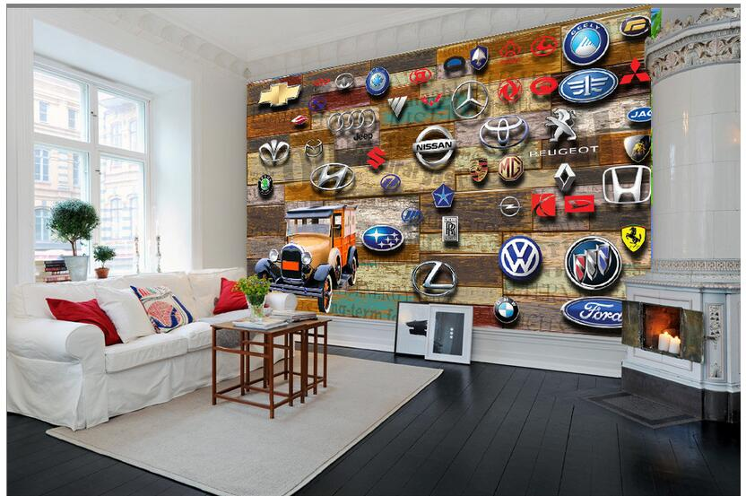 3d room wallpaper custom photo non woven mural picture wall sticker Wood grain car logo painting