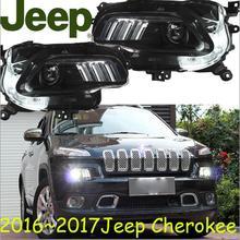 Auto stoßstange scheinwerfer Cherokee scheinwerfer 2016 ~ 2017y LED DRL auto zubehör HID xenon Cherokee tagfahrlicht nebel