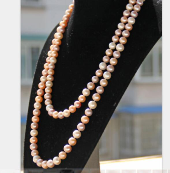 gorgeous AAA 9-10mm round multicolor pearl necklace 36 50 Yellow CLASPgorgeous AAA 9-10mm round multicolor pearl necklace 36 50 Yellow CLASP