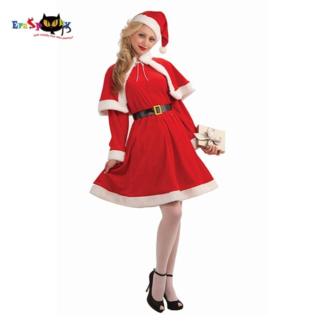 lady christmas costume for adult christmas cosplay hat dress belt women christmas dress sweet miss santa