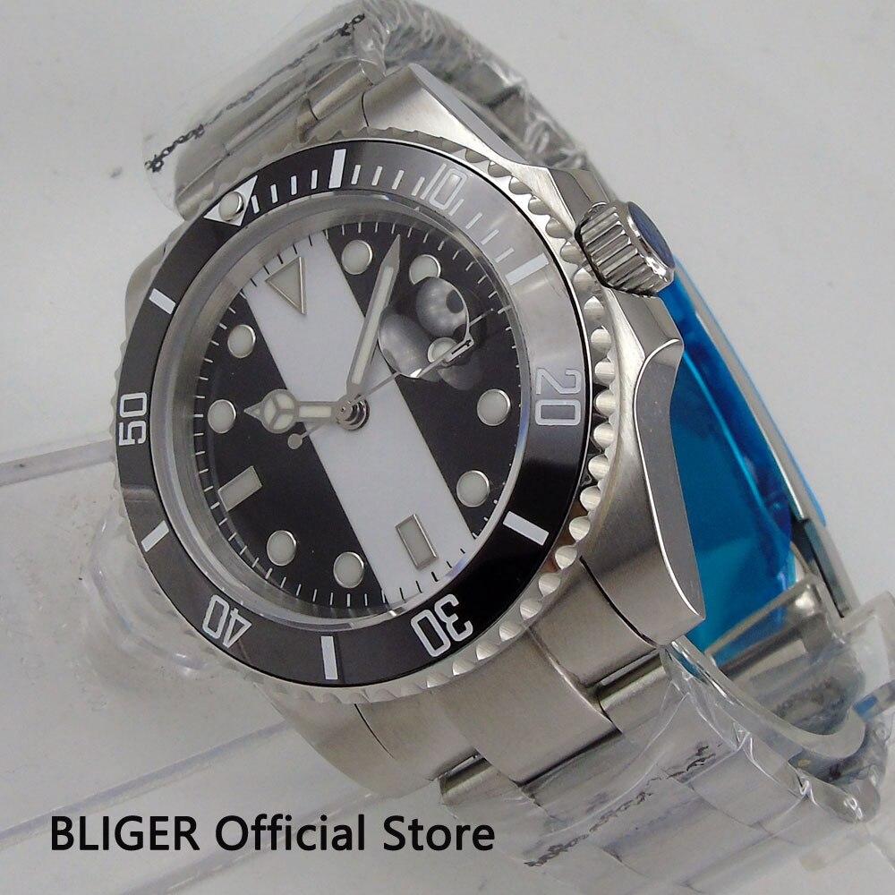 BLIGER 40 мм стерильный циферблат большие часы лицо черный керамический ободок светящиеся знаки сапфировое стекло Miyota автоматические Move Мужские t часы - 3