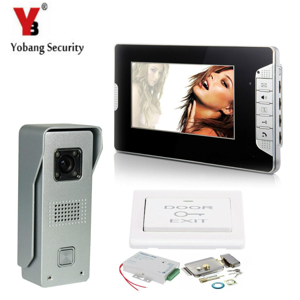 YobangSecurity 7Inch LCD Video Door Phone Visual Intercom Doorbell 1-camera 1-monitor IR Night Vision With Electronic Door Lock