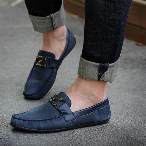 2015 Men Loafer Shoes Trendy Suede Leather Slip On Loafers Vintage Style Men Casual Shoes In