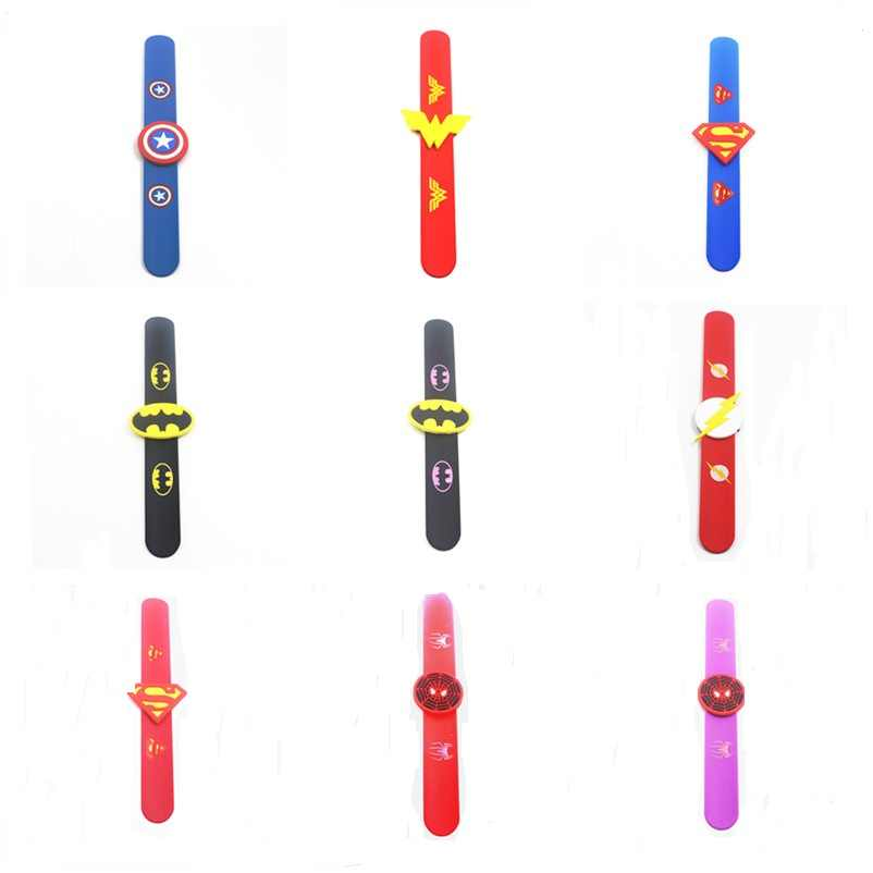 20pcs Batman Superheros Superman Wristband Creative Kids Birthday Gift  Slap Bracelet 10 Color Silicone Bracelet For Party Favor