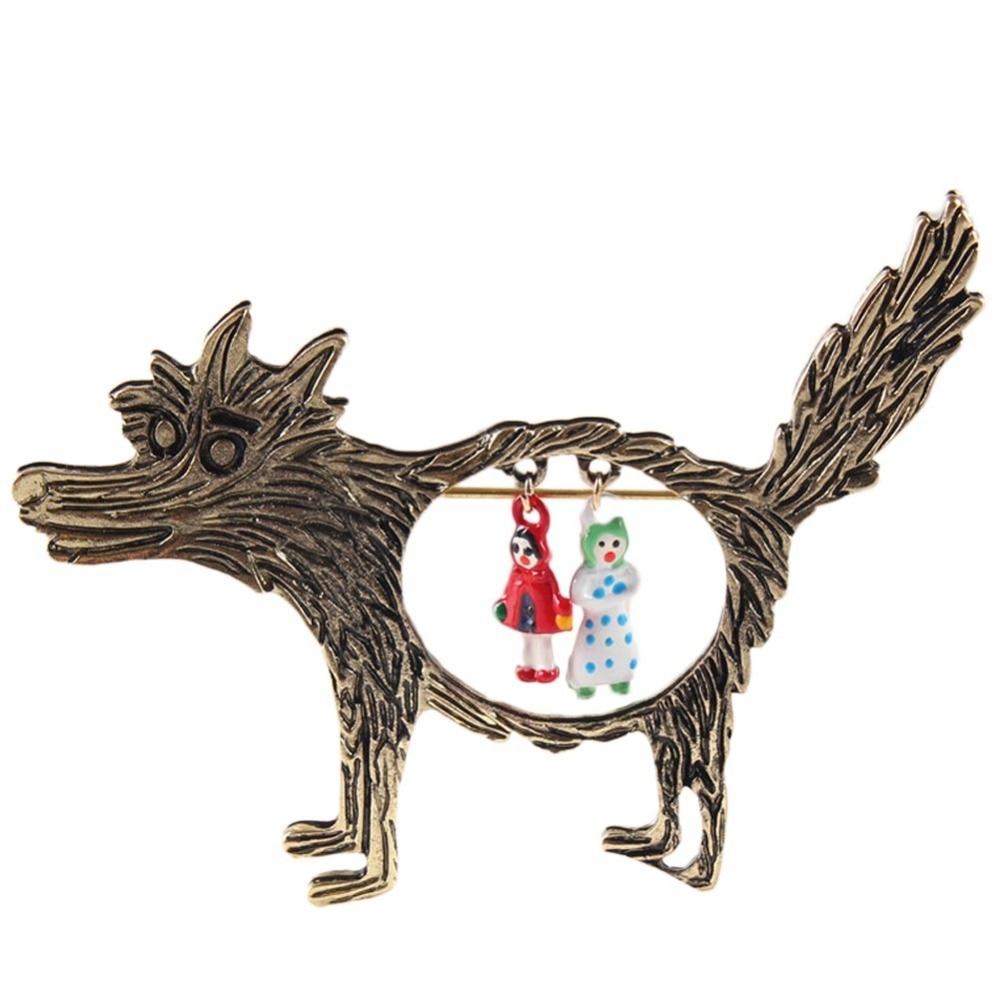 2016 New Fashion 1pcs Vintage Wolf Brooch jewelry Little ...