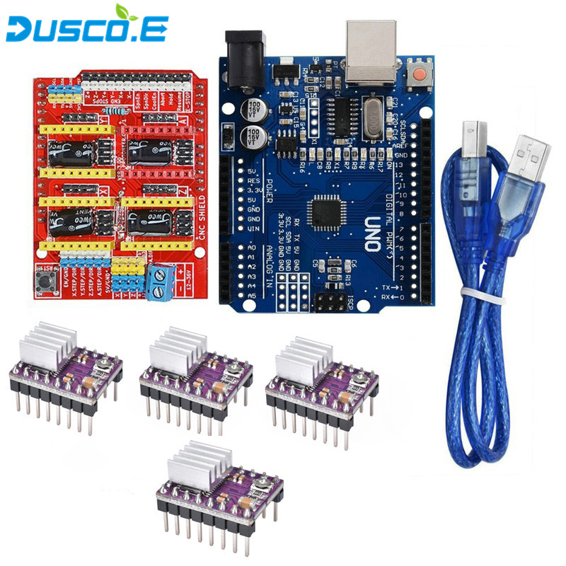 4Pcs DRV8825 Stepper Motor Driver With Heatsink + CNC Shield Expansion Board V3.0 + UNO R3 with USB Cable for Arduino 3D Printer