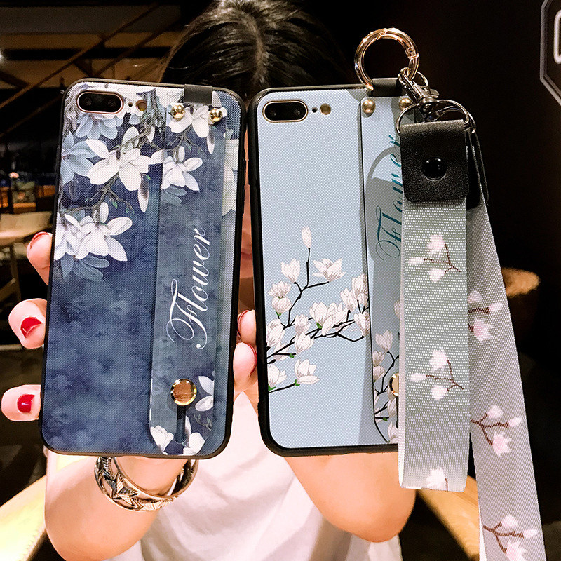 Wristband Kickstand Strap Flower Phone Case For OPPO R9S R11 R11S Plus R17 Fashion Back Cover For Women Shock Proof Slim