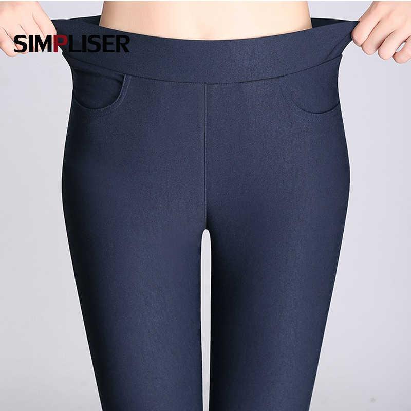d950f73877b2b6 Candy Color Pants Women High Stretch Leggings 2019 Black Blue White Female  Skinny Pencil Pants Plus