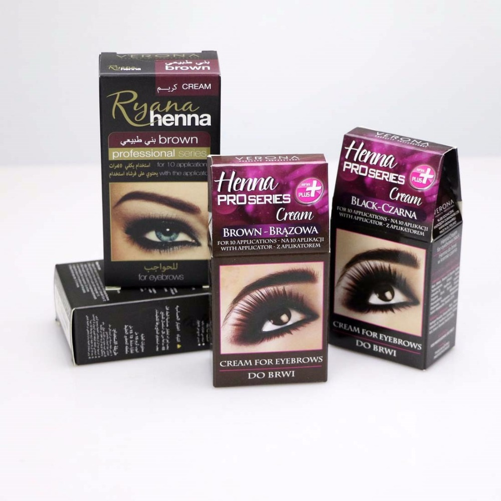 Proseries Ryana Henna Eyebrow Eyelashes Cream Professional Natural Plant Color Tint Kit Set Dye Brown Black Graphite Easy Dye