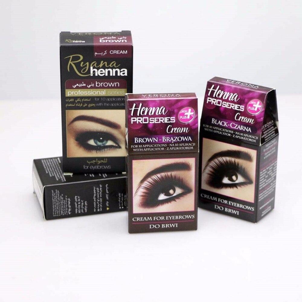 Proseries Ryana Henna Eyebrow Eyelashes Cream Professional Natural Plant Color Tint Kit Set Dye Brown Black Graphite Easy Dye