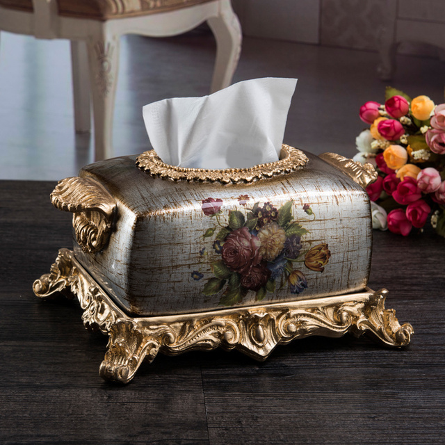 The high-end European style living room decor decoration luxury square box Home Furnishing resin carved fashion box