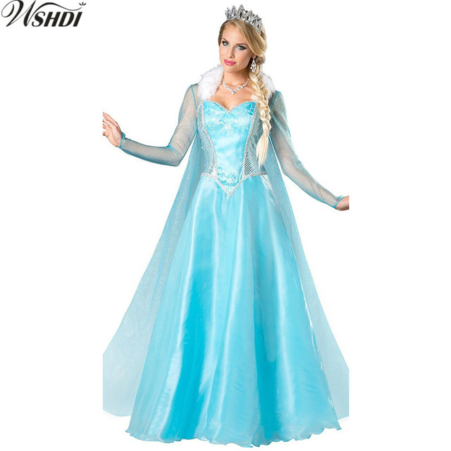 Deluxe Adult Elsa Queen Princess Costume Women Anime Princess Elsa Costume Halloween Christmas Cosplay Fancy Dress  sc 1 st  AliExpress.com & Deluxe Adult Elsa Queen Princess Costume Women Anime Princess Elsa ...