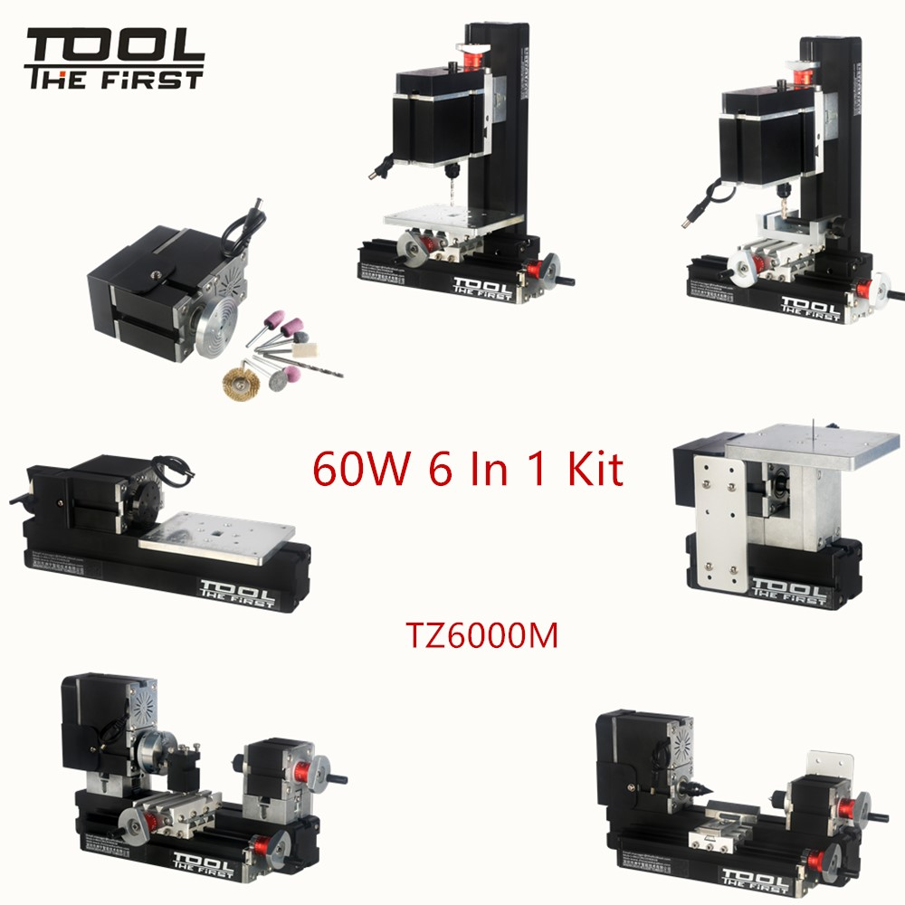 Thefirsttool TZ6000M Big Power 60W Motor Mini Metal 6 in 1 Lathe Machine with 12000rmp Children's Education DIY Tools Best Gift big power mini metal lathe machine tz20002m best gift for children and students