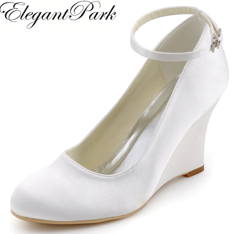 ivory white woman wedges shoes wedding Bridal high heel ankle strap Pumps Comfort round toe satin