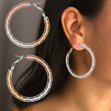 SisCathy Charms Cubic Zirconia Geometric Big Hoop Earrings For Women Luxury Statement DUBAI Wedding Bridal Round Earrings 2019 недорого