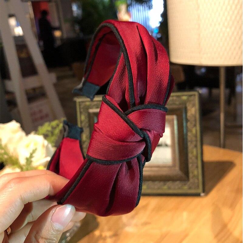 Korean Satin Solid Headband For Lady Women Twisted Knot Hair band Wide Cross Hair Hoop Vintage Hair Accessories   Headwear