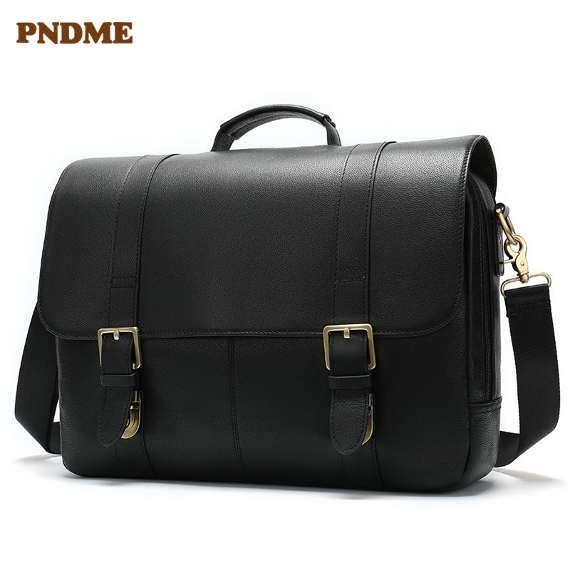 PNDME Business Men 39 s genuine Leather One Shoulder Bag 14 Inch Notebook Crossbody Bags Multifunction Portable Briefcase